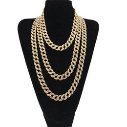 Finished silver chains online shopping - Iced Out Bling Rhinestone Golden Silver Finish Miami Cuban Link Chain Necklace Men s Hip Hop Necklace Jewelry Inch T190626