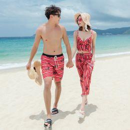 $enCountryForm.capitalKeyWord NZ - Couple Swimwear Sexy Bikinis Men Swimming Trunks Shorts Beach Wear Swimsuit For Women Bathing Suit Hot Spring Swim Wear 6.5