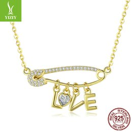 925 sterling silver letter love necklace 2019 - 100% 925 Sterling Silver LOVE Letter Gold Color Pendant Necklaces Zircon Long Chain For Women Wedding Party Jewelry Scn3