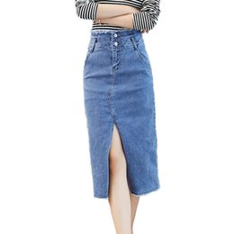 652a1261e Split Jeans Skirt For Women 2019 New Arrival Casual OL Lady Solid Color  High Waist Pencil Denim Skirts Pockets
