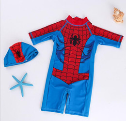 ff0a65b19b Boy Spider-Man Swimwear baby Bathing Suit One Pieces cartoon children  Swimsuit baby Swim Wear 2019 Summer