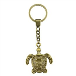 $enCountryForm.capitalKeyWord UK - New Fashion Keychain Antique Bronze Color 34x29mm Sea Turtle Pendant Key Chain Ring Holder Dropshipping