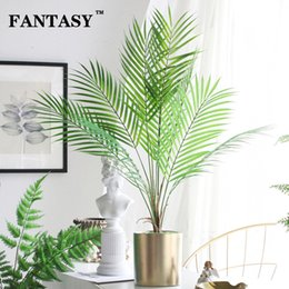 bamboo tree plastic Australia - 9 Fork Fake Plant Artificial Palm Tree Leaves Bouquet Tropical False Bamboo Plastic Leaf Branches For Garden Jungle Party Decor