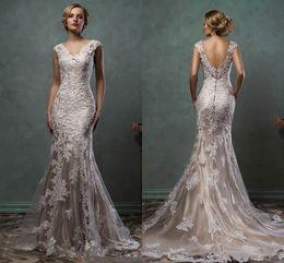 Vintage Amelia Sposa 2020 Champagne Lace Appliqued Mermaid Wedding Dresses Eleagnt Open Back V Neck Plus Size Beach Bohemian Bridal Gown on Sale