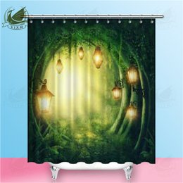 $enCountryForm.capitalKeyWord Australia - Vixm Road In A Magic Dark Forest Shower Curtains Traditional Oil Painting Cat Waterproof Polyester Fabric Curtains For Home Decor