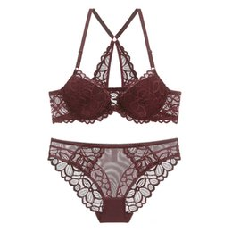 b78252ee18 Hollow out Sexy Bra Underwear Set Plus Size ABC Cup Women thicken bras  Transparent panties Lace front button Lingerie bra set