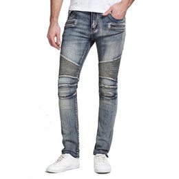 pleated pants for men Canada - 2020 New Mens Jeans Moto Biker Designer Denim Pant Ripped Jean Men Straight Fit Jeans Homme High Quality For Men