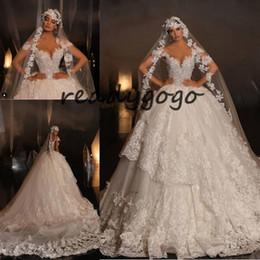 $enCountryForm.capitalKeyWord NZ - Puffy Skirt Lace Applique Wedding Gown 2019 Sparkly Luxury Cap Sleeve Cathedral Train Baroque Arabic Dubai Wedding Dress