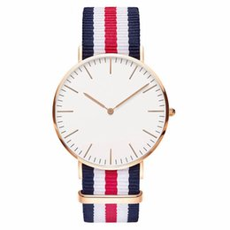 Chinese  Hot Nylon Strap Casual Men Watch Classic Fashion Striped Ladies Wrist Watch Reloj Mujer Super Simple Relogio Masculino DW Clock manufacturers
