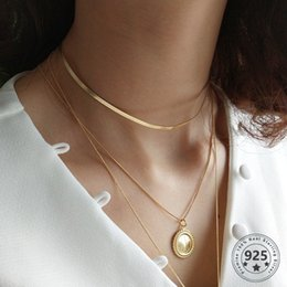 flat snake chains Canada - Louleur 925 Sterling Silver Flat Snake Fashion Necklace Gold Wide Chain Choker Necklace for Women Neck Decoration Silver Jewelry V191220