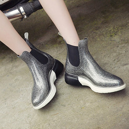 Discount rubber ankle rain boots - Women Fashion Platform Keep Warm Snow Boots Short Rain Boots Slip-On Stretch Fabric Flashing Waterproof Shoes woman Snow
