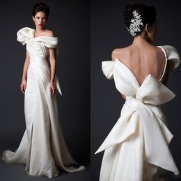 flowy floor length dress Australia - 2020 Flowy Krikor Jabotian Ivory Evening Dresses Dresses Custom Made Ruffled Formal Wear Sheath Off-Shoulder Backless Party Gown