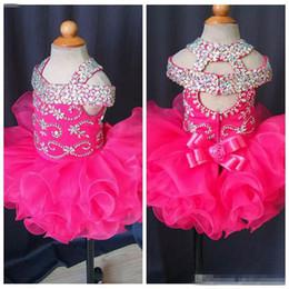 Mini Cupcake Black NZ - Gorgeous Baby Girls Glitz Crystal Beaded Girls Pageant Dresses Cupcake Gowns Infant Mini Short Skirts Toddler Ruffles Flower Girls Dress