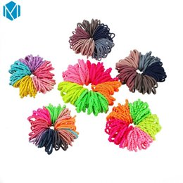 $enCountryForm.capitalKeyWord UK - 100pcs set Girls Candy Colors Nylon Rubber Bands Kids Hair Accessories Children High Elastic Hair Bands Ponytail Holder Scrunchy