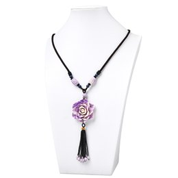 e4b07a181 Light Purple and Light White 5*13mm Flower Pendant with Pure Black 8mm  Beads Size For Diy Synthetic Coral Necklace 26inch H445