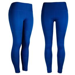 Discount yoga pants models - 2019 Amazon Explosion finish blue models high waist yoga leggings women Solid color four needles six line nine points sp
