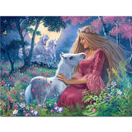 $enCountryForm.capitalKeyWord Australia - Full Drill Square 5d Diy Diamond Painting Cartoon Girl Diamond Embroidery Horse Animal Forest Rhinestone Cross-stitch Home Decor A17