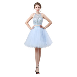 $enCountryForm.capitalKeyWord NZ - Two Pieces Dress Ruched Strapless Halter A Line Evening Dresses Sequins Beaded Short Prom Dresses Party Dress Formal Pageant Celebrity Gowns