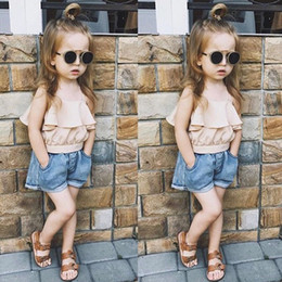 jeans top girl outfit NZ - Ins Summer Baby Girls Set Kids Strap Mini Sun-top + Jeans Denim Shorts Girl 2pcs Clothes Set Children Outfits Clothing Suits 14384