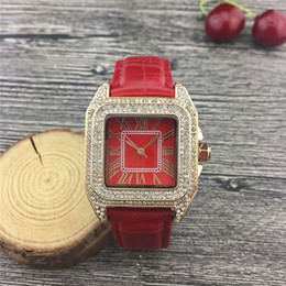Luxury Square Watch Swiss Australia - Luxury watches Women Watch Diamonds Dial Band Roman numerals Quartz Watches For Womens Swiss Ladies Designer Watches 16 Colors free shipping