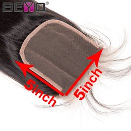 Chinese  Straight Closure 5x5 Lace Closure Brazilian Closure With Baby Hair 100% Human Hair Three Free Middle Part 10-20 Inch Natural Color Remy Beyo manufacturers