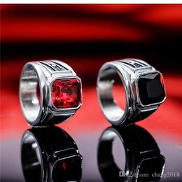 $enCountryForm.capitalKeyWord Australia - Classic Men Ring Stainless Steel Figure Style Black_Red Cubic Zircon Individual Custimized Steel Ring 16mm Jewelry GJ622