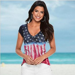 eca07f7069a Women T-shirts American Flag Loose 4th Of July short sleeve T-shirt Tops  Blouse Plus Size