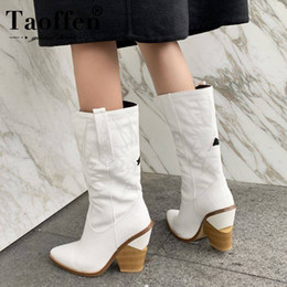 Simple ShoeS bootS online shopping - TAOFFEN Colors Women Simple White Boots Fashion Zipper Office Pointed Toe Mid Calf Boots Casual Shoes Women Botas Size