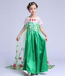 party queen make up Canada - Girls Snow Queen Princess Dress-up Cosplay Costume Make-up Party Princess Rapunzel Lace Dress 10 Style Ship PX-D05