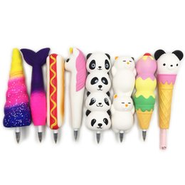 kids wholesale stationery NZ - New Squishy Unicorn Cat Ice Cream Panda Bun Pen Cap Stationery Pencil Holder Toppers Slow Rising Squeeze Children's Day Gift Toy