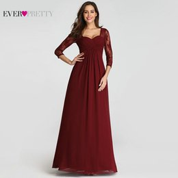 $enCountryForm.capitalKeyWord Canada - Robe De Soiree Pretty Elegant Lace Sleeve Burgundy Special Occasion Gowns for Wedding Guest 2019 Evening Dresses T190606