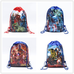 TableT boys online shopping - Child Drawstring Bags Kids Cartoon Printed Backpacks Cute Schoolbag The Avengers Alliance Pouch for Girls Boys Gifts Supply C81904