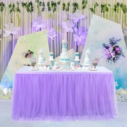 polyester table skirting 2019 - Tulle Table Skirt Cover Birthday Wedding Festive Party Decor Table Cloth discount polyester table skirting