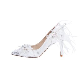 beautiful satin slips Australia - Beautiful Feather Wedding Shoes White Satin Bridal Party Prom High Heels Pointed Toes Thin Heel Anniversary Event Shoes Glitter