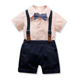 4ff12a8345ef 2019 Summer Infant Baby Boys Clothes Set Bowite Short Sleeve Shirt +  Suspender Shorts Boy 2pcs Set Children Outfits 4916