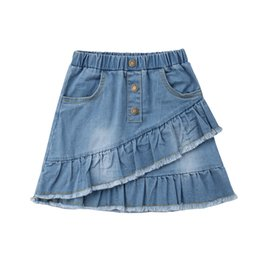 toddler girl jeans shorts UK - 2018 New Toddler Kids Girls Blue Denim Mini Skirt Short Ruffles A Line Jeans Skirt Children Baby Girl Summer Washed Jeans Skirts