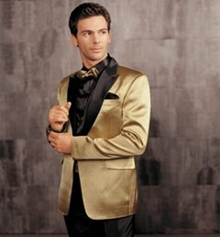 $enCountryForm.capitalKeyWord Australia - Custom Made Groom Tuxedos Gold Peaked Lapel Groomsmen Best man Wedding Suits for Men Mens Formal Wear Men Wedding Suits(Jacket+Pants+Tie)