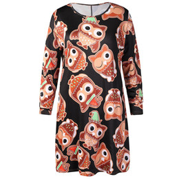 $enCountryForm.capitalKeyWord NZ - autumn dress Women's Casual Retro Long Sleeve Vintage Christmas Owl Printed plus size Cocktail Dress vestidos verano 2018