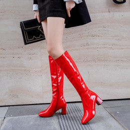 white leather shoes for women NZ - Patent leather Large Size 45 knee high boots for women 6cm block heels red white black lady winter shoes Long Boots