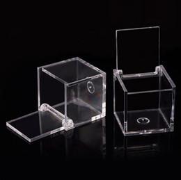 Candy box souvenirs online shopping - 200pcs Food Grade Clear Plastic Square Box Candy Box Flip Transparent Gift Packing Case Wedding Favor Souvenirs RRA2070