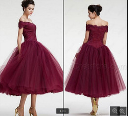 $enCountryForm.capitalKeyWord UK - 2016 Beautiful Burgundy Off The Shoulder Prom Dresses a line Lace tea length prom dresses simple gorgeous evening party prom dress hot sale