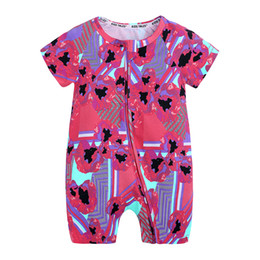 baby boy casual rompers UK - Baby Girl clothes Newborn boys ropa summer short sleeve cotton floral rompers kids casual soft costume Chic jumpsuit 0-2 MBR256