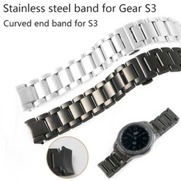 $enCountryForm.capitalKeyWord Australia - 20 22mm Watch Band For Samsung Gear S3 Stainless Steel Strap Solid Curved End Watchband Replacement Watch Wrist Frontier Classic T190620