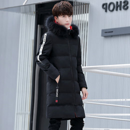 Korean Slim Clothes Male Australia - Pop2019 Product Male Long Mianfu Thickening Keep Warm Loose Coat Youth Korean Slim Even Hat Cotton-padded Clothes