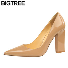 $enCountryForm.capitalKeyWord Canada - 2019 Dress BIGTREE Women OL Shoes Faux Leather Flock Faux Sude High Heels Satin Pumps Pointy Toe Clubwear Dress Shoes Thick Block Heels