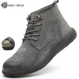 $enCountryForm.capitalKeyWord NZ - Mens Work Boots 2019 Fashion Outdoor Steel Toe Cow Leather Steel Toe Shoes Men Anti Slip Puncture Proof Safety Shoes Boot Man MX190819
