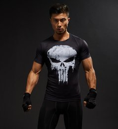 Mode d'été à manches courtes 3D T-shirt des hommes T-shirt Homme T-shirt Captain America n Men Fitness Compression Shirt Punisher