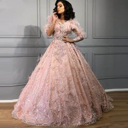 Dusty pink evening gowns online shopping - Bling Bling Ball Gown Evening Dress Long Sleeve Sparkly Robe de soiree Lace Feathers Dusty Pink Prom Dresses Party Gowns