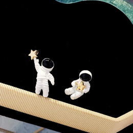 Charms star sterling online shopping - luxury jewelry S925 sterling silver needle earrings astonaut picking stars shape charm stud earrings for women hot fashion