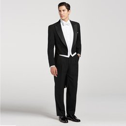 $enCountryForm.capitalKeyWord NZ - New Black Tailcoat Men Suits for Wedding Wide Peaked Lapel Slim Fit Groom Tuxedos Vintage Men Blazers Double Breasted 3 Pieces Wedding Suit